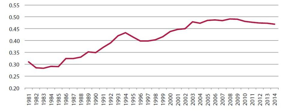 Grafico 8 Gini China desde 1981